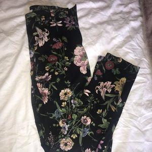 Floral dress slacks with belt loops